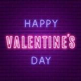 lycklig s valentin för dag Glödande text för neon Royaltyfri Bild