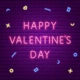 lycklig s valentin för dag Glödande text för neon Arkivfoto