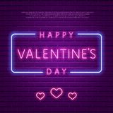 lycklig s valentin för dag Glödande text för neon Arkivbilder