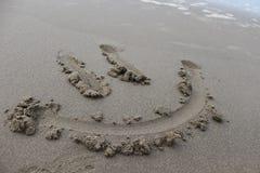 Lycklig sandframsida för herr Royaltyfria Foton