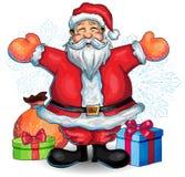 Lycklig Santa Claus hand dragen illustration med jul Royaltyfri Bild