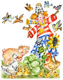 lycklig scarecrow stock illustrationer