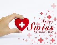 Lycklig schweizisk för hälsningkort för nationell dag design Fotografering för Bildbyråer