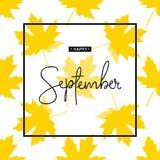 Lycklig September kalligrafiinskrift Autumn Banner Template arkivbilder