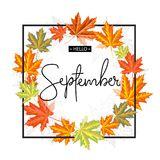 Lycklig September kalligrafiinskrift Autumn Banner Template arkivfoton