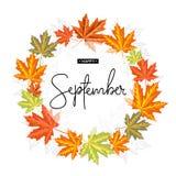 Lycklig September kalligrafiinskrift Autumn Banner Template royaltyfri fotografi