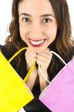 Lycklig Shopaholic kvinna arkivfoto