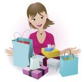 lycklig shoppare Arkivfoton