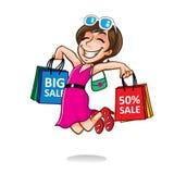 Lycklig shoppareflicka för tecknad film Royaltyfri Bild