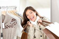 lycklig shopparekvinna Royaltyfri Bild