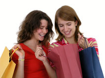 lycklig shopping Arkivfoton