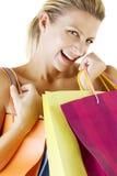 lycklig shopping royaltyfri bild