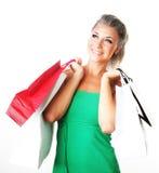 lycklig shopping för flicka Fotografering för Bildbyråer
