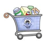 lycklig shopping för vagn Arkivfoto