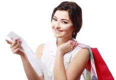 Lycklig shoppingkvinna Arkivfoton
