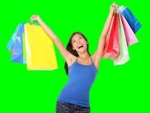 Lycklig shoppingkvinna Royaltyfria Foton