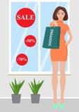 lycklig shoppingkvinna Royaltyfria Bilder