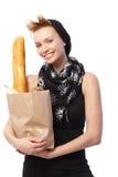 lycklig shoppingkvinna för påse Royaltyfria Bilder
