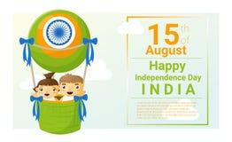 Lycklig självständighetsdagen Indien 15th Augusti Royaltyfri Fotografi