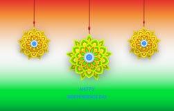 Lycklig självständighetsdagen Indien, vektorillustration, Arkivfoton