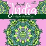 Lycklig självständighetsdagen Indien, vektorillustration, reklambladdesign för 15th Augusti Royaltyfri Fotografi