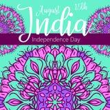 Lycklig självständighetsdagen Indien, vektorillustration, reklambladdesign för 15th Augusti Arkivbild