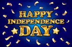 Lycklig självständighetsdagenaffischdesign, baner med den guld- ballongvektorn för konfettier Royaltyfri Bild