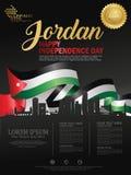 Lycklig självständighetsdagenbakgrund för Jordanien med den vinkande flagga- och konturstaden av Jordanien med utmärkelseband royaltyfri illustrationer