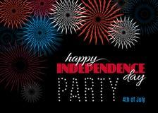 Lycklig självständighetsdagenpartiaffisch eller baner Arkivfoton
