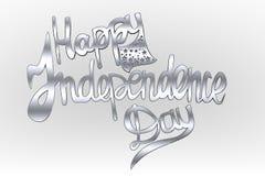 Lycklig självständighetsdagentextbokstäver, självständighetsdagenpalett, effekt med stjärnor Arkivfoton