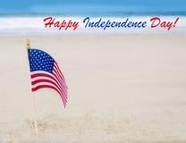 Lycklig självständighetsdagenUSA bakgrund med amerikanska flaggan Arkivbilder