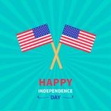Lycklig självständighetsdagen USA för två flaggor 4th juli Design för lägenhet för Sunburstbakgrundskort Royaltyfri Bild