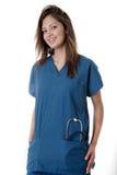 lycklig sjuksköterskadeltagare fotografering för bildbyråer