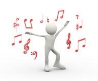 lycklig sjungande person för dans 3d med musikaliska anmärkningar Stock Illustrationer