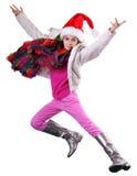 Lycklig skolflicka eller handelsresande som övar, kör och hoppar Arkivbild