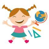 Lycklig skolflicka med skolatillbehör Arkivbilder