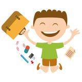 Lycklig skolpojke med skolatillbehör Arkivbild
