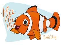 Lycklig skratta clown Fish för dumbommars dag, vektorillustration Arkivbilder