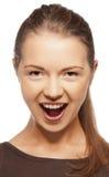 Lycklig skrikig tonårs- flicka Arkivfoto