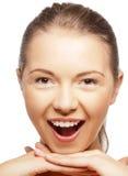Lycklig skrikig tonårs- flicka Arkivfoton
