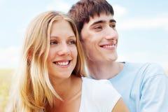 lycklig smiley för par Fotografering för Bildbyråer