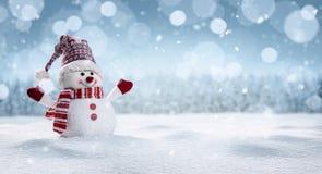 Lycklig snögubbe i vintersecenery arkivbilder