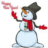 Lycklig snögubbe på en vit bakgrund Arkivbild