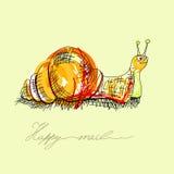 lycklig snail Fotografering för Bildbyråer