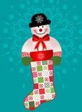 Lycklig snögubbe i strumpa Royaltyfri Bild