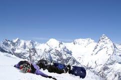 lycklig snowboarder royaltyfria foton