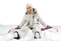 lycklig snowboarder Arkivfoto