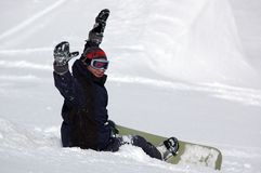 lycklig snowboarder Arkivbilder