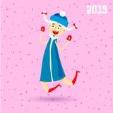 Lycklig Snowgirl banhoppning royaltyfri bild