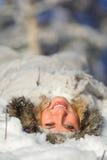 lycklig snowkvinna Royaltyfri Fotografi